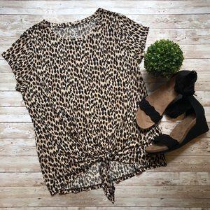LOFT Linen Leopard Tie Front Tee